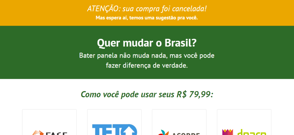 Aviso mostra real intenção do site.