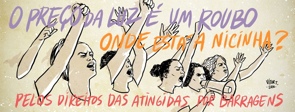 Ilustração para o Movimento dos Atingidos por Barragens (MAB), pelos direitos das atingidas!
