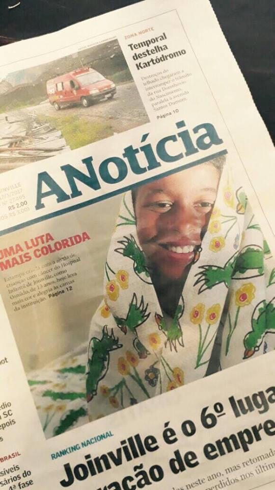 Capa do jornal A Notícia em Joinville/SC (Foto: Reprodução).