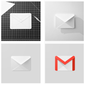 Todas as etapas da construção do ícone do Gmail